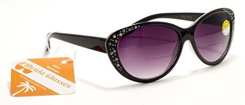 FG Kim Kardashian Style Womens Bifocal Reading Sunglasses with Rhinestones and Magnifier Inserts +125, 150, 200, 250, 300 Power Sun - Sunglasses Line Kardashian