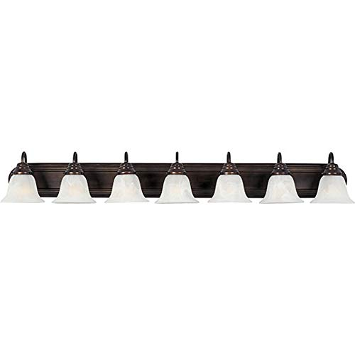 - Maxim 8016MROI Essentials in Oil Rubbed Bronze Finish - Damp Rated Vanity Lights - 7 Lightings Lamp Set. Wall Lighting