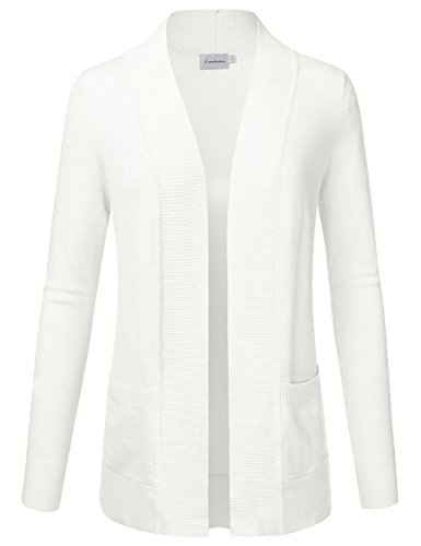 (JJ Perfection Women's Open Front Knit Long Sleeve Pockets Sweater Cardigan Ivory L)
