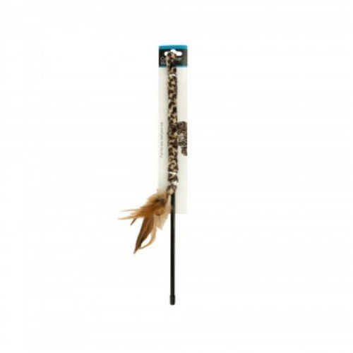 Kole KI-DI249 Leopard Print Cat Teaser Wand with Feathers One Size