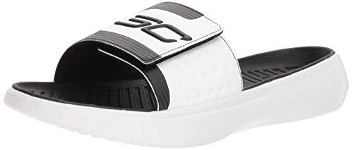 Curry Footwear (Under Armour Men's Curry 4 Slide Sandal, Black (001)/Black, 9)