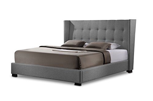 Baxton Studio Favela Linen Modern Bed with Upholstered Headboard, Queen, (Queen Slat Panel Bed)