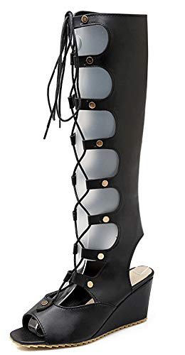 À Femme Voyage Talon Mode Compensé Sandales Bottes Chaussures Aisun Noir Lacets De Fermeture qw4HxntZt