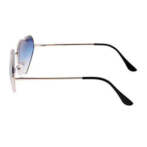 Baosity Orecchini Cuore Forma Occhiali da Sole Lenti a Gradiente Eyewear da Spiaggia per Donna Ragazze - Blu Chiaro, 15cm