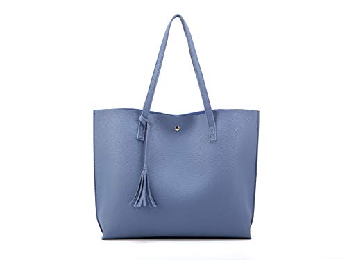 (Nodykka Women Tote Bags Top Handle Satchel Handbags PU Pebbled Leather Tassel Shoulder)