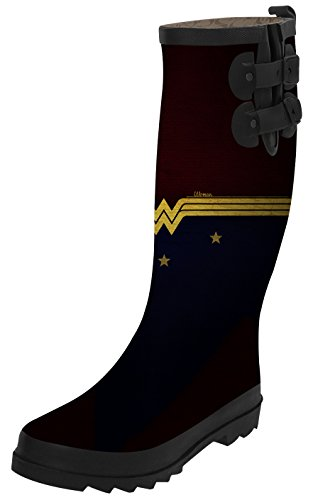 TA-TA FROG Wonder Woman Fashion Women's Top Solid Rain Knee High Boots Waterproof Tall Rainboots 36 (Wonder Woman Boots Cheap)