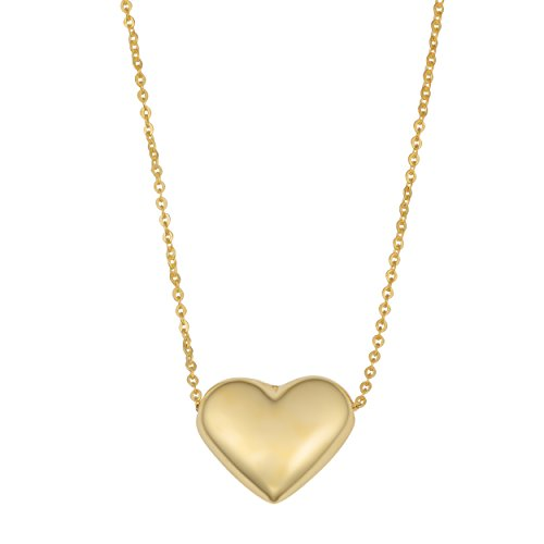 Wide Puffed Heart - 10K Yellow Gold Puffed Heart Pendant Necklace, 18