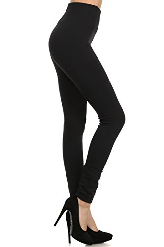 USBingoshop Women Winter Thick High Waist Full Length Seamless Fleece Leggings (Black)