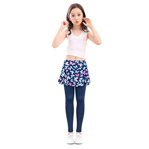 slaixiu Girls Leggings Skirt Stretchy Printing Flower Skirtpants 4-11 Years(GP12_Butterfly_130) ()