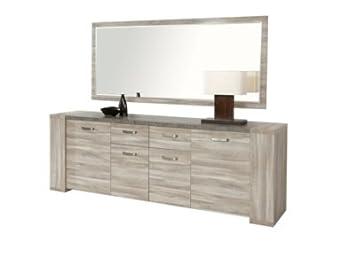 Buffet 4 porte, 2 tiroirs STONE DR2 CHENE GRIS: Amazon.fr ...