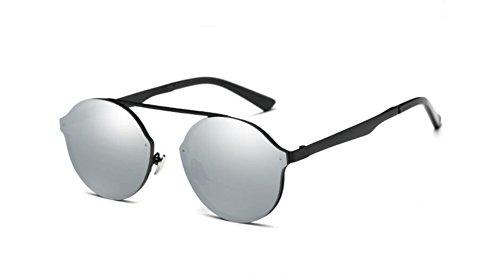 gafas redonda de film de de sol metal coloridos LSHGYJ mercury caja sol GLSYJ moda gafas box Black sol Gafas white EZ04qP