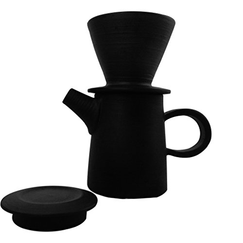 ZANTAN Handmade Ceramic Coffee Dripper and Pot Set, Far Infrared Radiation and Negative Ions, Reduce Bitter Taste, Pour Over Coffee Maker, 11.6 Ounce by ZANTAN (Image #2)