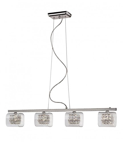 Transglobe Lighting MDN-1112 Pendant with Crystal Glass Shades, Polished Chrome Finish