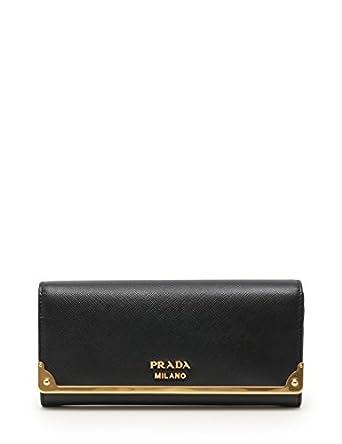 417dea9a5130 Amazon.co.jp: (プラダ) PRADA SAFFIANO CAHIER 二つ折り長財布 サフィアーノレザー 黒 1MH132 中古:  服&ファッション小物