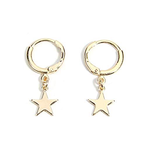 Gold Tone Circle Round Cross Hoop Earrings,Moon Star Dangle Hinged Hoop Stud Earrings for Women Girls-gold star