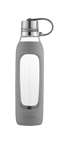 Contigo Purity Glass Water Bottle, 20 oz, Smoke with Silicone Tether