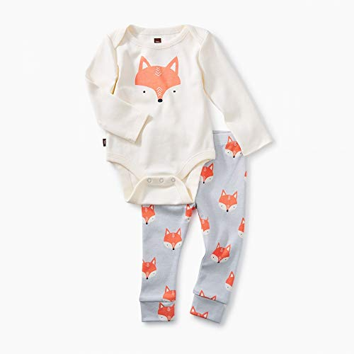 (Tea Collection 2-Piece Bodysuit Baby Outfit, Chalk, Fox Design with White Top and Gray Pants (3-6 Months))