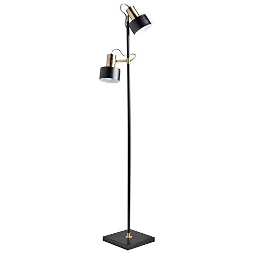 Rivet Modern Metal Double Shade Living Room Standing Floor Lamp With Reading Light and Light Bulbs - 10 x 12 x 59.5 Inches, Matte Black with Antique Brass ()