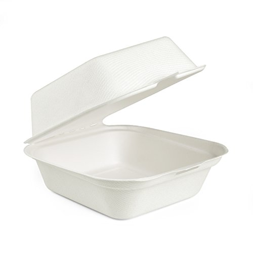 Roots Pack 6 inch White Burger Box made from Bagasse (Sugarcane Fiber) - Biodegradable Compostable Eco-Friendly - Pack of 50