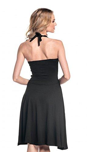Glamour Empire. Mujer cuello halter Jersey Vestido S-4xl. 145 negro