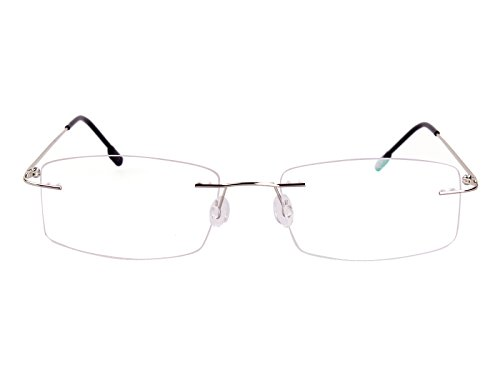 Agstum Titanium Alloy Flexible Rimless Hinged Frame Prescription Eyeglasses Rx (Silver, - Eyeglasses Rimless Rectangle