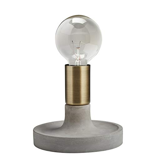 Set Set Bedroom Adesso (Rivet Modern Exposed Bulb Table Lamp, Cement With Antique Brass Accents)