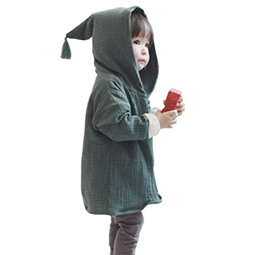 (Baby Coat 1-4 Years Old,Infant Toddler Boys Girls Kids Solid Warm Long Sleeve Hooded Jacket Cardigan Outerwear (2-3 Years Old, Green))