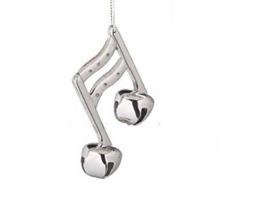 Shiny Silver Sixteenth Note Music Note Jingle Bell Christmas Ornament (Music Ornaments)