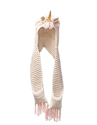 - ShiyiUP Children Unicorn Hat Girl Crochet Scarf Cape Gold