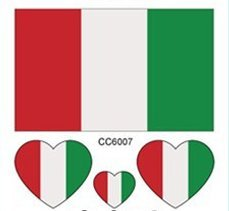 Italy Lot of 5 Flag Tattoos, World Flags Temporary Tattoos. 2018 World Cup - Great Gift For Men & Women, Him or Her
