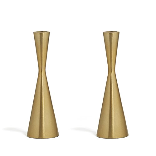 2 Brass Finished Taper Candle Holders, 7.5 Inches, Metal, Hourglass Shape, Fits ALL Standard Size (Brass Candlestick Holder)