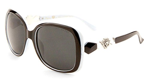 Kleo Oversized Butterfly Lion Head Medallion Sunglasses (Black, Light Blue & Silver, - Sunglasses Bugeye
