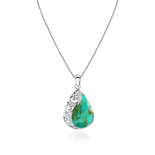 Sterling Silver Simulated Turquoise Filigree Teardrop Pendant Necklace