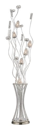Dimond D2130 8-Inch Width by 55-Inch Height Cyprus Grove Floor Lamp in Satin Nickel