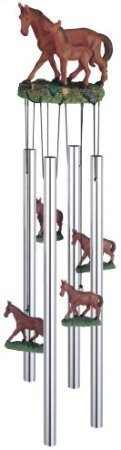 Wind Chime Round Top Horse with Foal Hanging Garden Porch Decoration ()