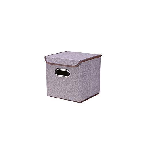 - Folding Cotton Linen Clothing Storage Box Large Wardrobe Rectangle Bin with Cover Portable Container,24.5X24.5X25Cm