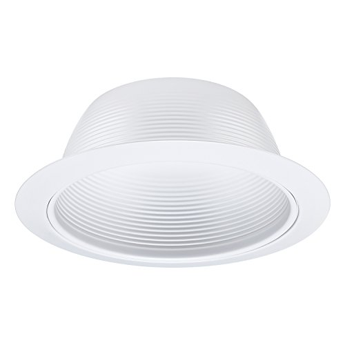 6 Inch Recessed Can Light Trim with White Metal Step Baffle, for 6 inch Recessed Can, Detachable Iron Ring Included, Fit Halo/Juno Remodel Recessed Housing, Line Voltage Available -