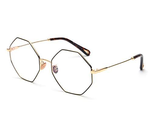 optical eyeglasses frame women vintage gold metal oversized octagon polygon glasses for men,gold with ()