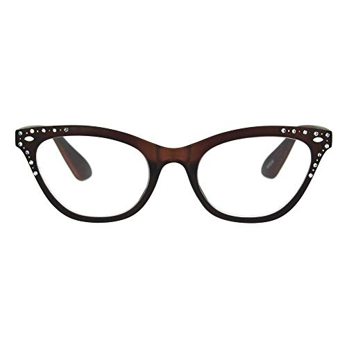 Womens Magnified Reading Glasses Rhinestone Cateye Spring Hinge Brown +1.25 (Glasses Rhinestone Reading Brown)