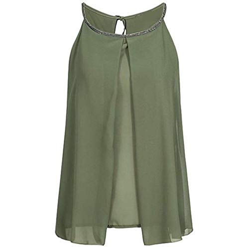 New Chiffon Tank Top Women Summer Loose top Fashion Sequins Round Neck Shirt Sleeveless Vest Tank Shirt top Camisole Green -