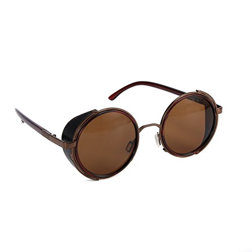 Mirror lens Round Glasses Cyber Goggles Steampunk Sunglasses Vintage Retro(Brown lens bronze - Safety Goggles Round