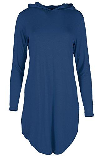 Femmes Sweat À Capuche Manches Longues IncurvéÉpais Robe Femmes Sexy Fête Crayon Mini Top Chemise Surdimensionnée - Bleu marine, Grande taille (48-50)