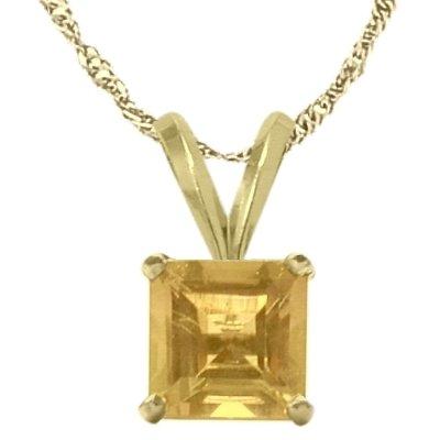 - 14 Karat Yellow Gold 0.60tcw. 5mm Genuine Princess Cut Square Citrine Pendant