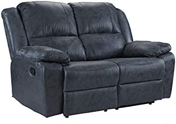 "Casa Andrea Oversize 56"" inch Air Leather Recliner Living Room Loveseat Sofa Grey"