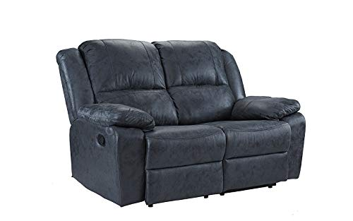 """Casa Andrea Oversize 56"""" inch Air Leather Recliner Living Room Loveseat Sofa (Grey)"""