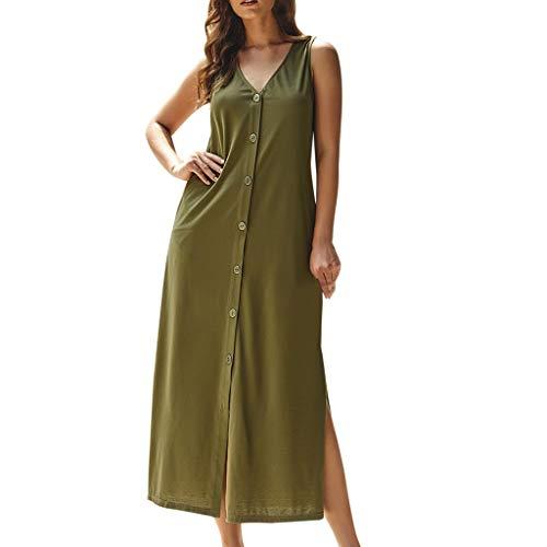 NEARTIME Women Long Shirts Dress, Ladies Fashion V-Neck Sleeveless Tank Cotton Button with Pockets Loose Maxi Dress