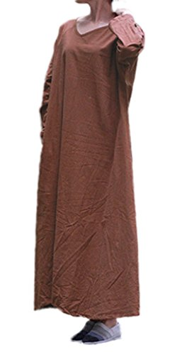 Soojun Women's Pure Cotton V Collar Maxi Dresses with Bawting Sleeve, Coffee Long - Pure Cotton Limited