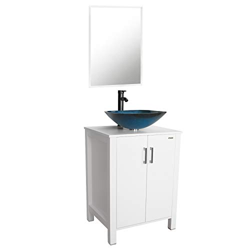eclife 24'' Bathroom Vanity Sink Combo White Cabinet Vanity Ocean Blue Square Tempered Glass Vessel Sink & 1.5 GPM Water Save Faucet & Solid Brass Pop Up Drain,W/Mirror(A04B04W)
