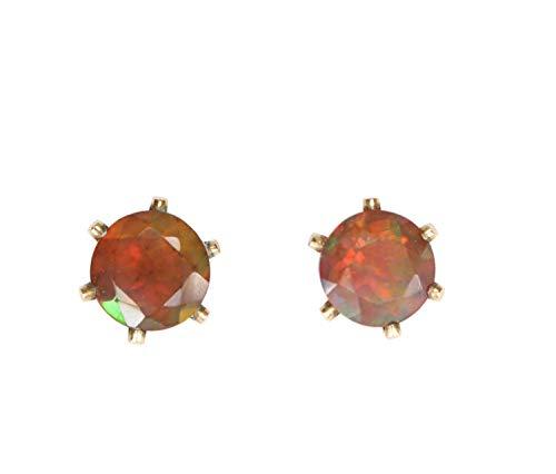 Fire Opal Gemstone Stud Earring- Real Opal- October Birthstone Birthday Gift Idea