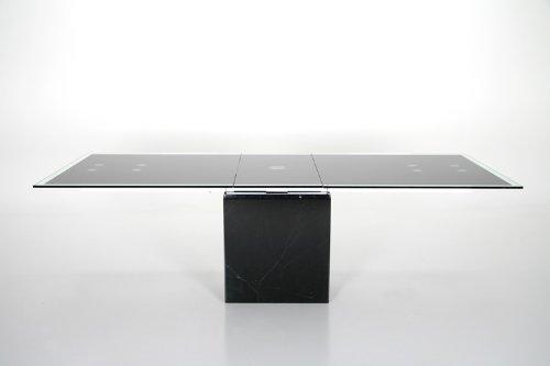 SalesFever Esstisch mit Marmorfuß und Schwarzglas 200/245x100cm Grazie